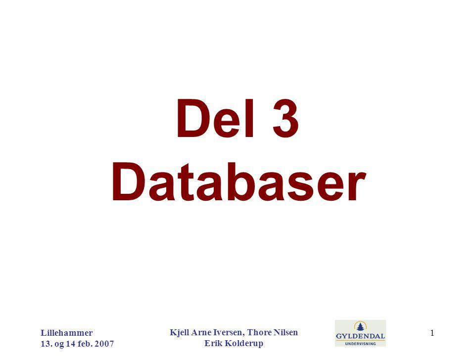 Del 3 Databaser Lillehammer 13. og 14 feb. 2007 Kjell Arne Iversen, Thore Nilsen Erik Kolderup 1