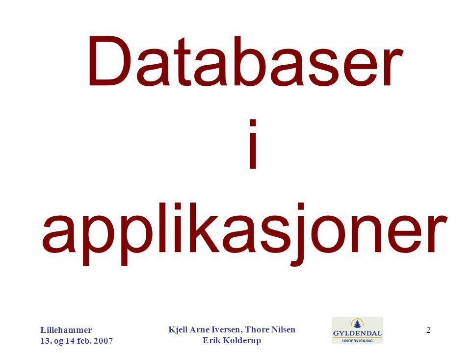 Databaser i applikasjoner Lillehammer 13. og 14 feb. 2007 Kjell Arne Iversen, Thore Nilsen Erik Kolderup 2