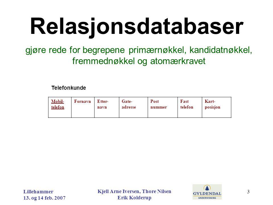 Datamodellering utvikle normaliserte datamodeller ut fra problemstillinger og begrunne valgene som er gjort Lillehammer 13.