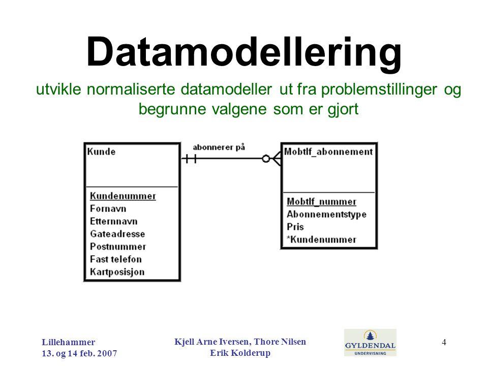 Datamodellering utvikle normaliserte datamodeller ut fra problemstillinger og begrunne valgene som er gjort Lillehammer 13. og 14 feb. 2007 Kjell Arne