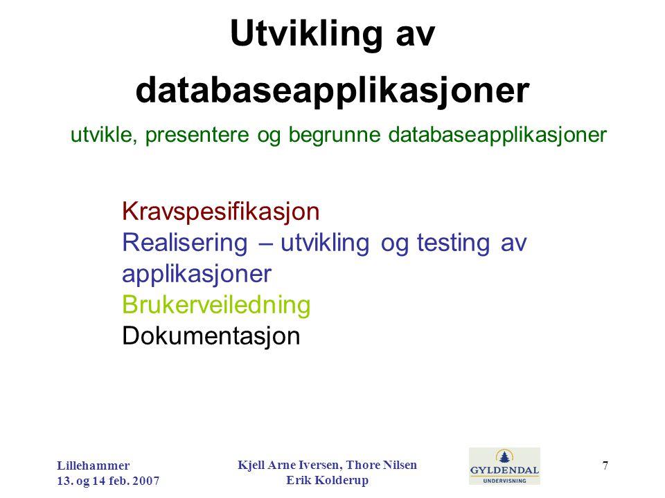 Utvikling av databaseapplikasjoner Kravspesifikasjon Realisering – utvikling og testing av applikasjoner Brukerveiledning Dokumentasjon utvikle, prese