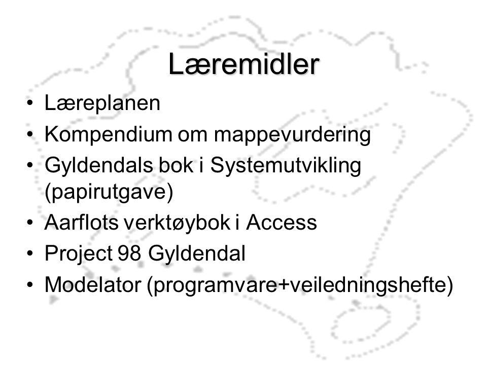 Læremidler Læreplanen Kompendium om mappevurdering Gyldendals bok i Systemutvikling (papirutgave) Aarflots verktøybok i Access Project 98 Gyldendal Mo