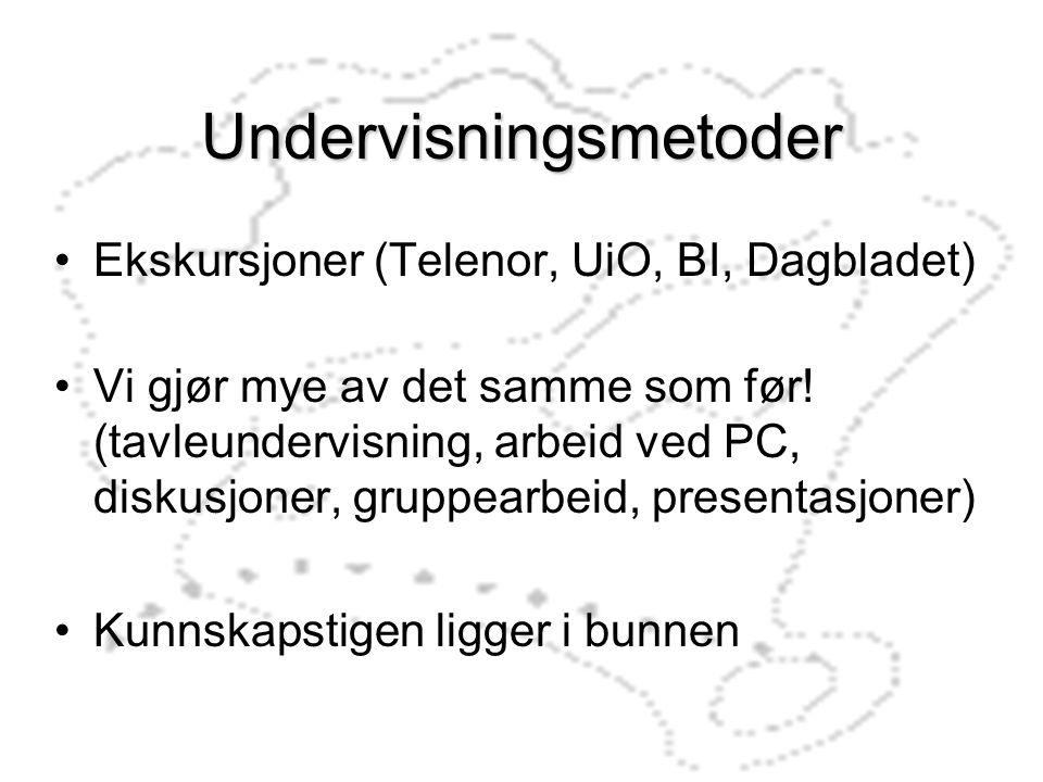 Undervisningsmetoder Ekskursjoner (Telenor, UiO, BI, Dagbladet) Vi gjør mye av det samme som før! (tavleundervisning, arbeid ved PC, diskusjoner, grup