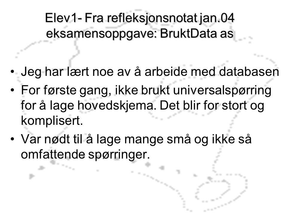 Elev1- Fra refleksjonsnotat jan.04 eksamensoppgave: BruktData as Jeg har lært noe av å arbeide med databasen For første gang, ikke brukt universalspør
