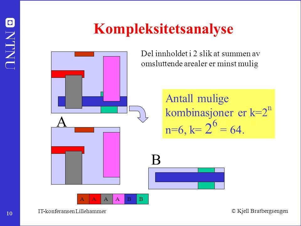 10 © Kjell Bratbergsengen IT-konferansen Lillehammer Kompleksitetsanalyse Del innholdet i 2 slik at summen av omsluttende arealer er minst mulig ABBAA