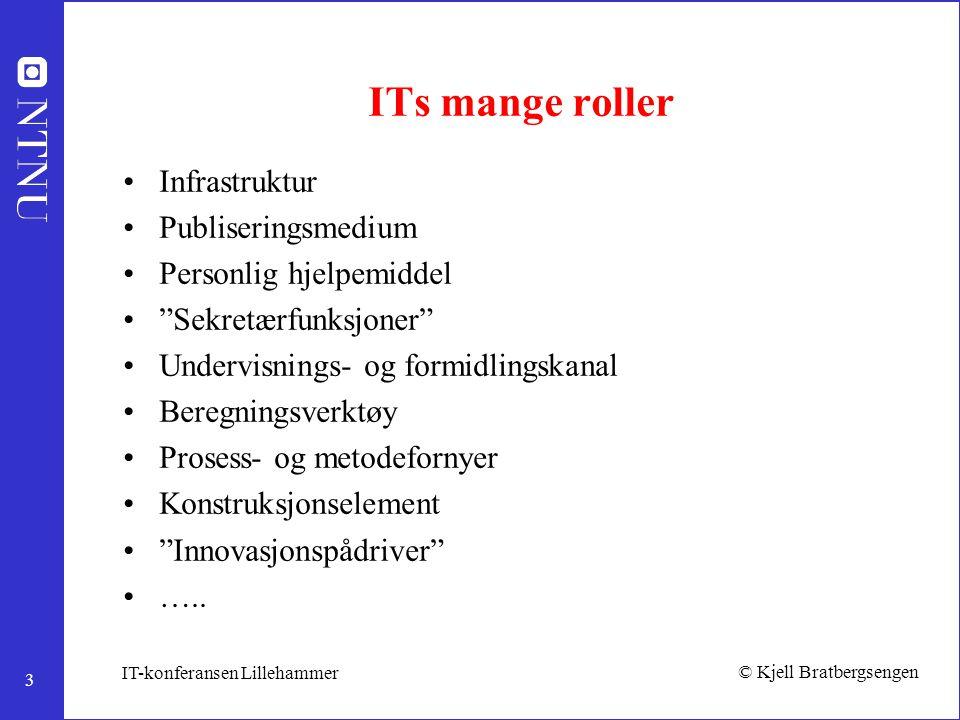 """3 © Kjell Bratbergsengen IT-konferansen Lillehammer ITs mange roller Infrastruktur Publiseringsmedium Personlig hjelpemiddel """"Sekretærfunksjoner"""" Unde"""