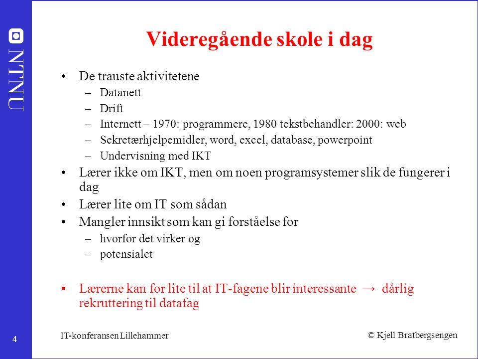 4 © Kjell Bratbergsengen IT-konferansen Lillehammer Videregående skole i dag De trauste aktivitetene –Datanett –Drift –Internett – 1970: programmere,