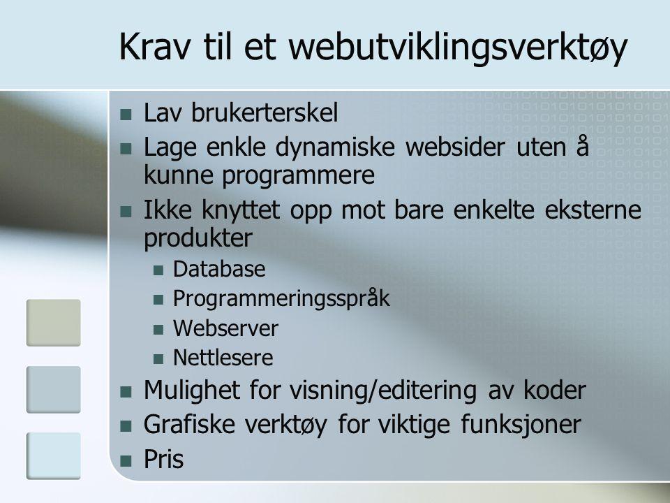 Krav til et webutviklingsverktøy Lav brukerterskel Lage enkle dynamiske websider uten å kunne programmere Ikke knyttet opp mot bare enkelte eksterne produkter Database Programmeringsspråk Webserver Nettlesere Mulighet for visning/editering av koder Grafiske verktøy for viktige funksjoner Pris
