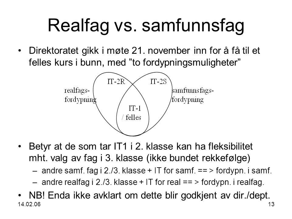 14.02.0613 Realfag vs. samfunnsfag Direktoratet gikk i møte 21.