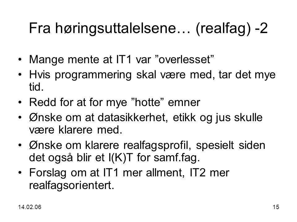 14.02.0615 Fra høringsuttalelsene… (realfag) -2 Mange mente at IT1 var overlesset Hvis programmering skal være med, tar det mye tid.