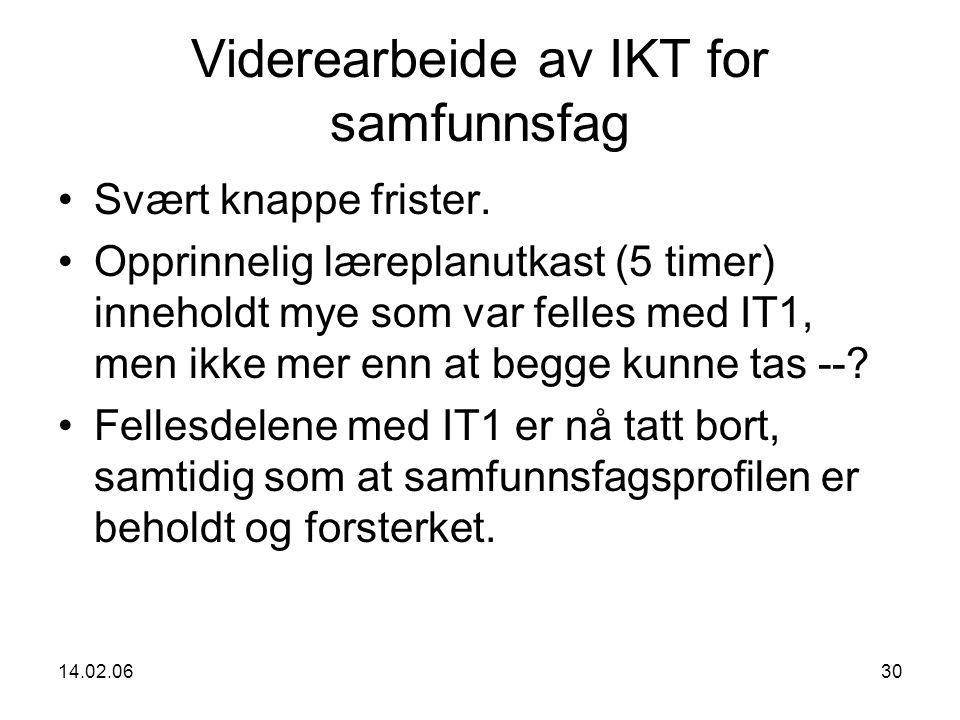 14.02.0630 Viderearbeide av IKT for samfunnsfag Svært knappe frister.