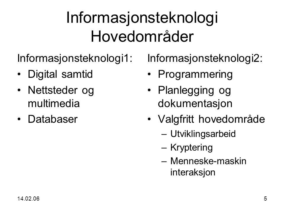 14.02.065 Informasjonsteknologi Hovedområder Informasjonsteknologi1: Digital samtid Nettsteder og multimedia Databaser Informasjonsteknologi2: Programmering Planlegging og dokumentasjon Valgfritt hovedområde –Utviklingsarbeid –Kryptering –Menneske-maskin interaksjon