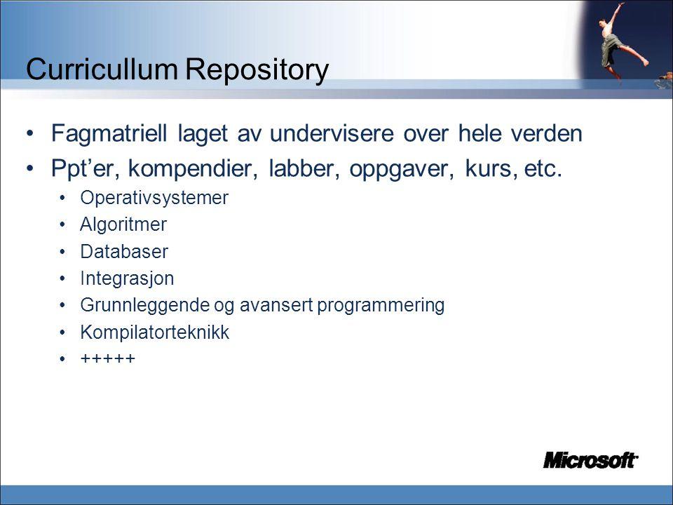 Curricullum Repository Fagmatriell laget av undervisere over hele verden Ppt'er, kompendier, labber, oppgaver, kurs, etc.