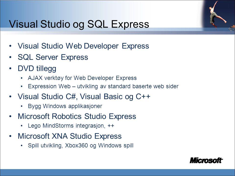 Visual Studio og SQL Express Visual Studio Web Developer Express SQL Server Express DVD tillegg AJAX verktøy for Web Developer Express Expression Web