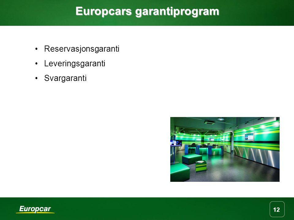 12 Europcars garantiprogram Reservasjonsgaranti Leveringsgaranti Svargaranti