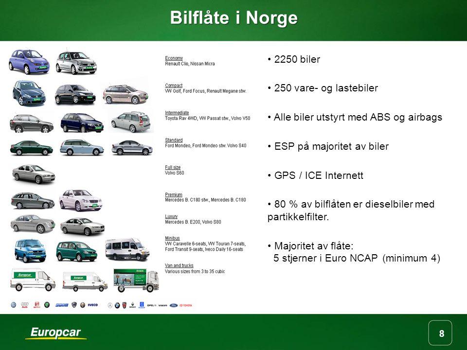 8 Bilflåte i Norge 2250 biler 250 vare- og lastebiler Alle biler utstyrt med ABS og airbags ESP på majoritet av biler GPS / ICE Internett 80 % av bilflåten er dieselbiler med partikkelfilter.