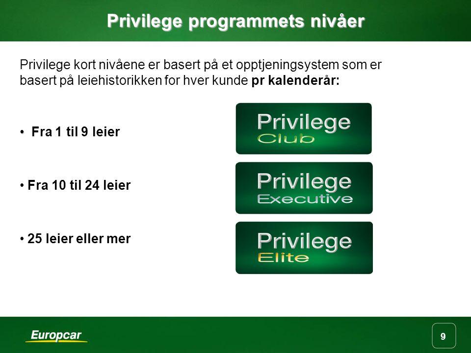 9 Privilege programmets nivåer Privilege kort nivåene er basert på et opptjeningsystem som er basert på leiehistorikken for hver kunde pr kalenderår: Fra 1 til 9 leier Fra 10 til 24 leier 25 leier eller mer