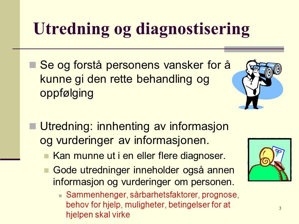Utredning og diagnostisering Se og forstå personens vansker for å kunne gi den rette behandling og oppfølging Utredning: innhenting av informasjon og vurderinger av informasjonen.