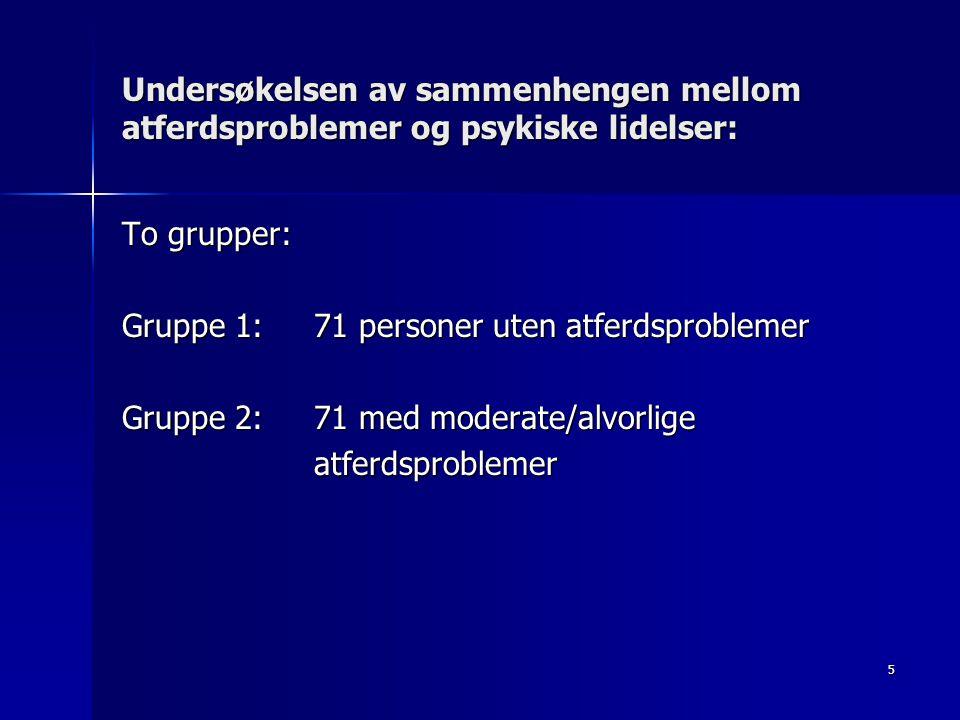 5 Undersøkelsen av sammenhengen mellom atferdsproblemer og psykiske lidelser: To grupper: Gruppe 1: 71 personer uten atferdsproblemer Gruppe 2: 71 med
