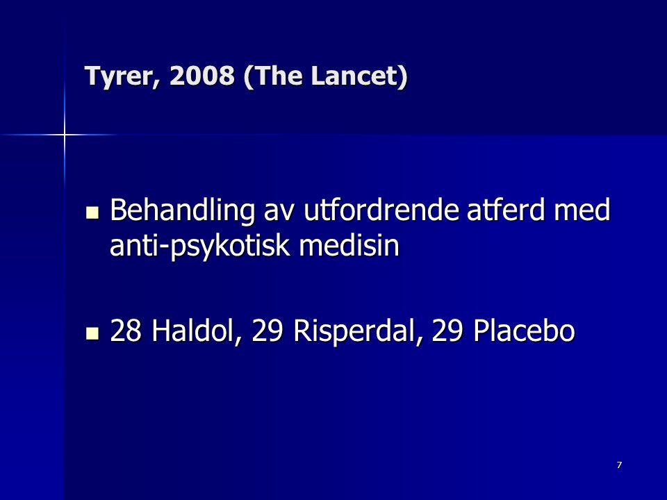 8 Utfordrende atferd minket i all tre gruppene, men det var best resultat med placebo Utfordrende atferd minket i all tre gruppene, men det var best resultat med placebo Anti-psykotisk medisin anbefales ikke i forhold til utfordrende atferd Anti-psykotisk medisin anbefales ikke i forhold til utfordrende atferd NB.