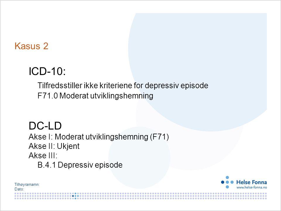 Tilhøyrarnamn: Dato: Kasus 2 ICD-10: Tilfredsstiller ikke kriteriene for depressiv episode F71.0 Moderat utviklingshemning DC-LD Akse I: Moderat utvik