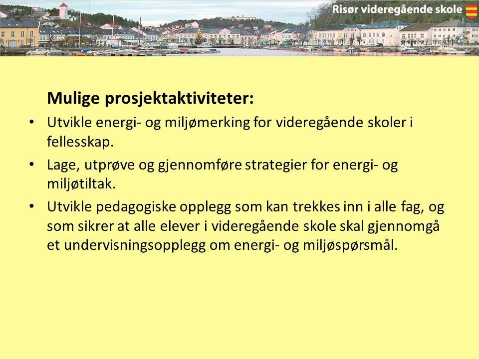 Mulige prosjektaktiviteter: Utvikle energi- og miljømerking for videregående skoler i fellesskap. Lage, utprøve og gjennomføre strategier for energi-