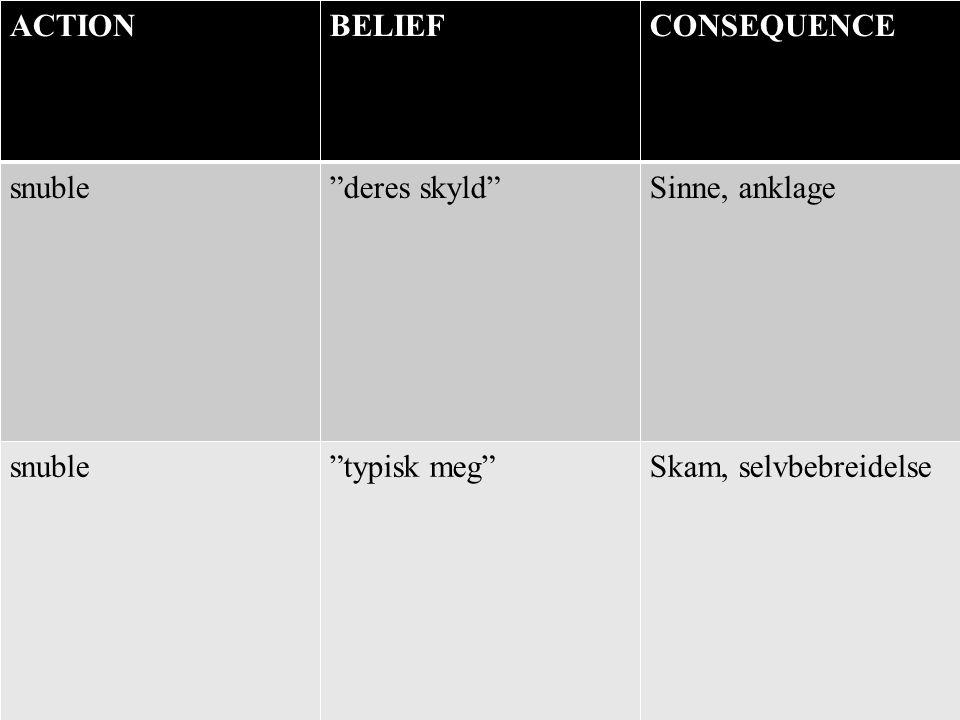 """ACTIONBELIEFCONSEQUENCE snuble""""deres skyld""""Sinne, anklage snuble""""typisk meg""""Skam, selvbebreidelse"""