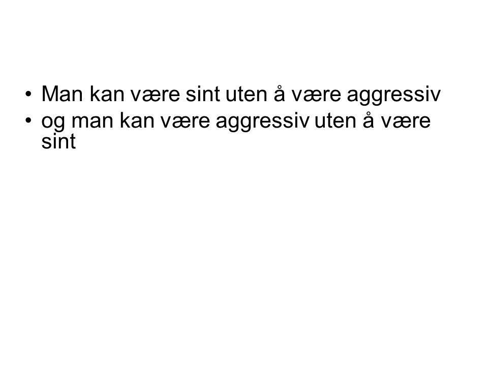Man kan være sint uten å være aggressiv og man kan være aggressiv uten å være sint