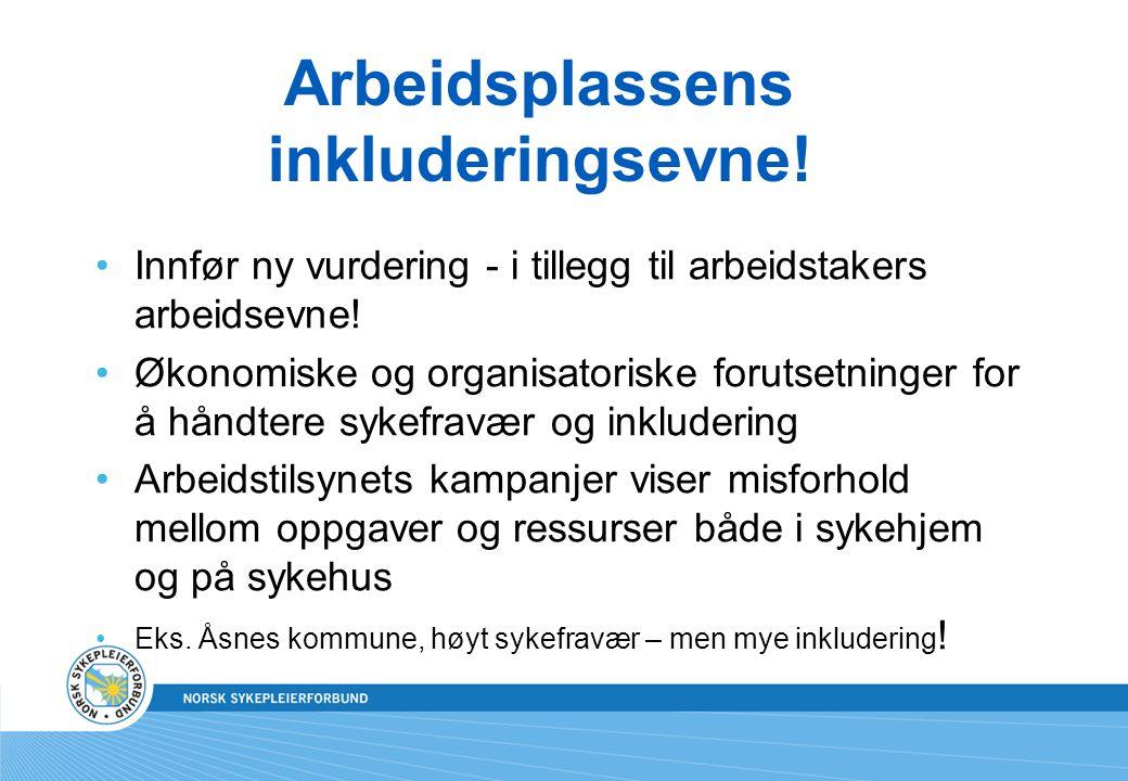 Arbeidsplassens inkluderingsevne! Innfør ny vurdering - i tillegg til arbeidstakers arbeidsevne! Økonomiske og organisatoriske forutsetninger for å hå