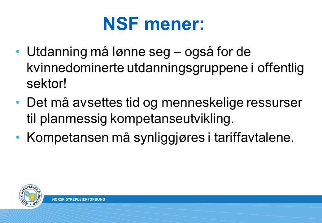 NSF mener: Utdanning må lønne seg – også for de kvinnedominerte utdanningsgruppene i offentlig sektor! Det må avsettes tid og menneskelige ressurser t