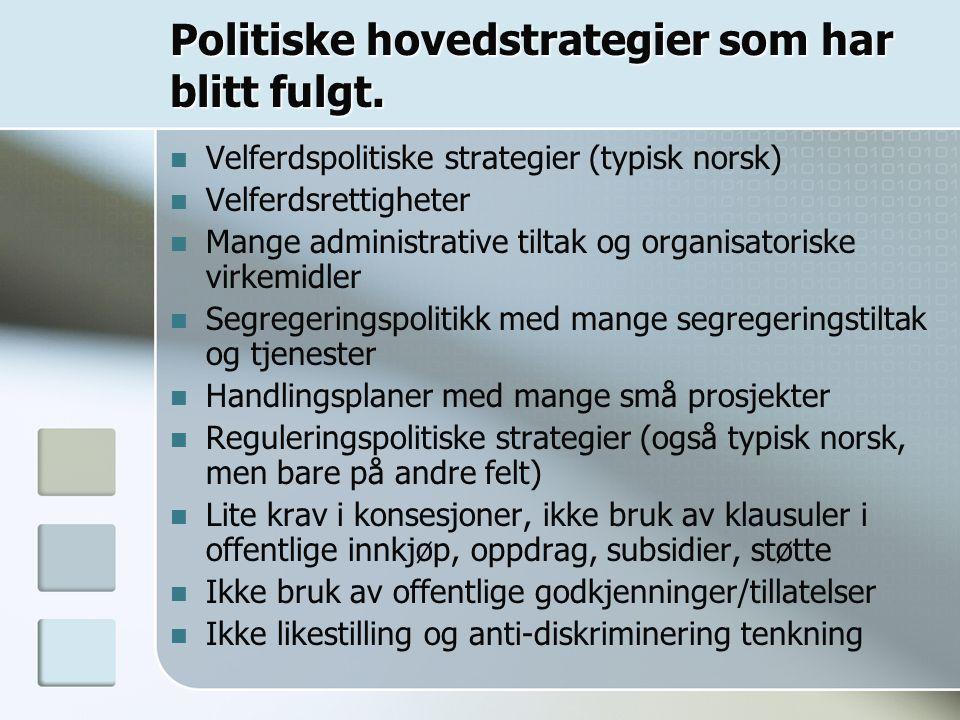 Politiske hovedstrategier som har blitt fulgt.
