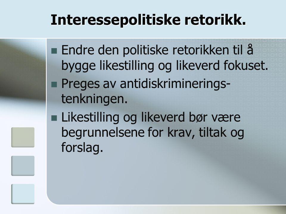 Interessepolitiske retorikk.