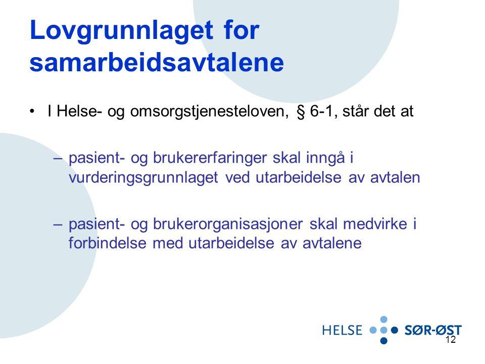 Lovgrunnlaget for samarbeidsavtalene I Helse- og omsorgstjenesteloven, § 6-1, står det at –pasient- og brukererfaringer skal inngå i vurderingsgrunnla