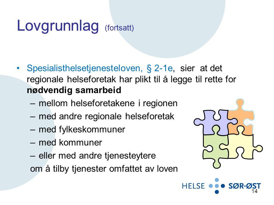Lovgrunnlag (fortsatt) Spesialisthelsetjenesteloven, § 2-1e, sier at det regionale helseforetak har plikt til å legge til rette for nødvendig samarbei