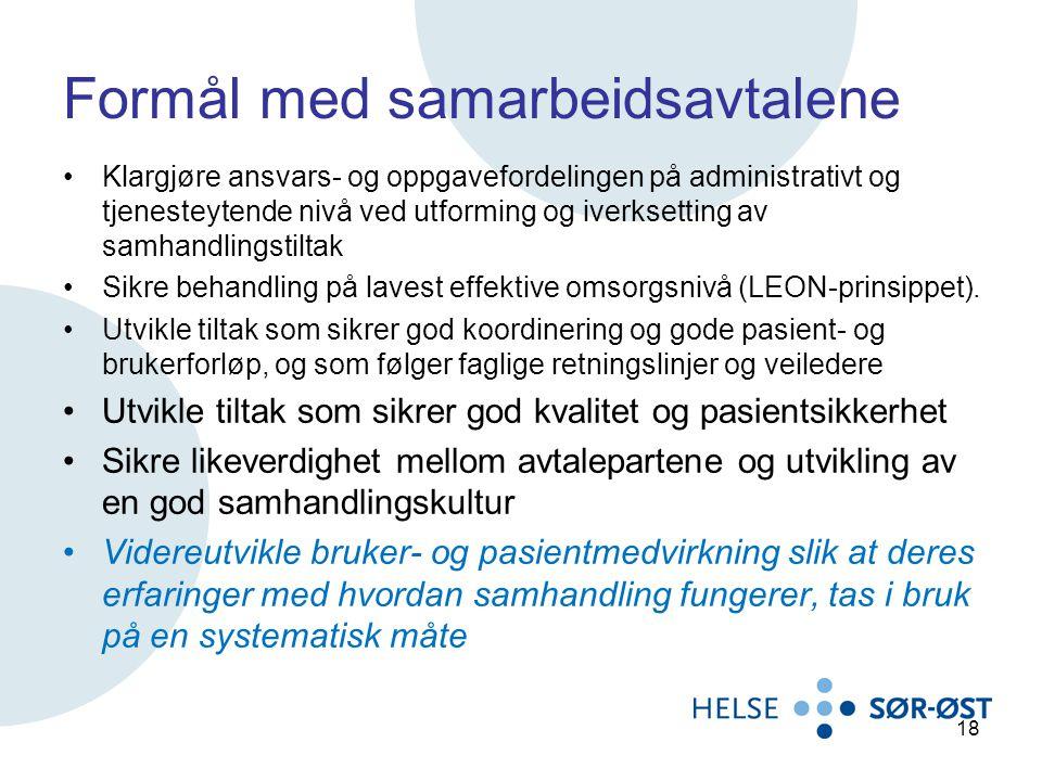 Formål med samarbeidsavtalene Klargjøre ansvars- og oppgavefordelingen på administrativt og tjenesteytende nivå ved utforming og iverksetting av samha
