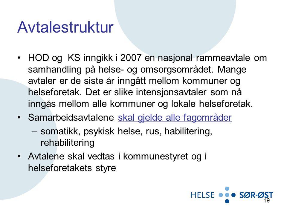 Avtalestruktur HOD og KS inngikk i 2007 en nasjonal rammeavtale om samhandling på helse- og omsorgsområdet. Mange avtaler er de siste år inngått mello