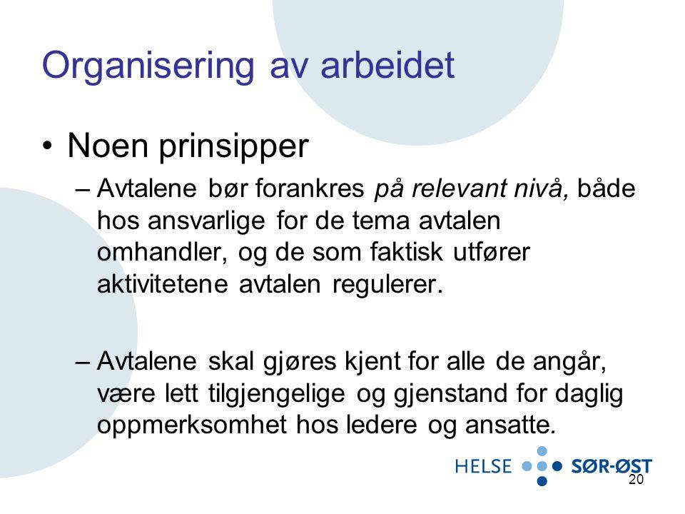 Organisering av arbeidet Noen prinsipper –Avtalene bør forankres på relevant nivå, både hos ansvarlige for de tema avtalen omhandler, og de som faktis
