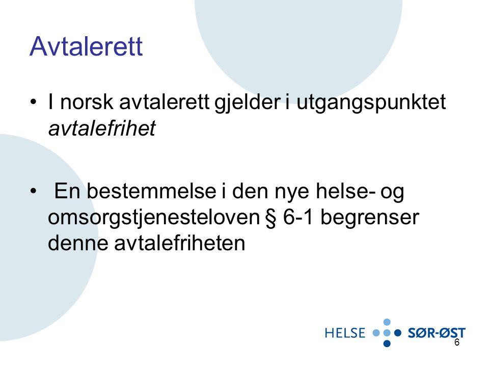 Avtalerett I norsk avtalerett gjelder i utgangspunktet avtalefrihet En bestemmelse i den nye helse- og omsorgstjenesteloven § 6-1 begrenser denne avta