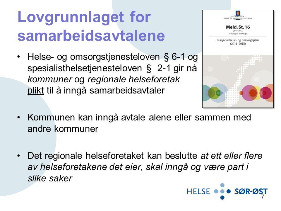 Formål med samarbeidsavtalene Klargjøre ansvars- og oppgavefordelingen på administrativt og tjenesteytende nivå ved utforming og iverksetting av samhandlingstiltak Sikre behandling på lavest effektive omsorgsnivå (LEON-prinsippet).