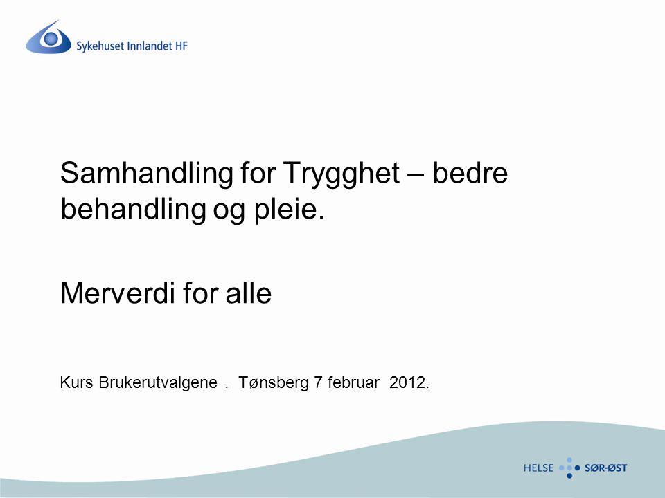 Samhandling for Trygghet – bedre behandling og pleie. Merverdi for alle Kurs Brukerutvalgene. Tønsberg 7 februar 2012.