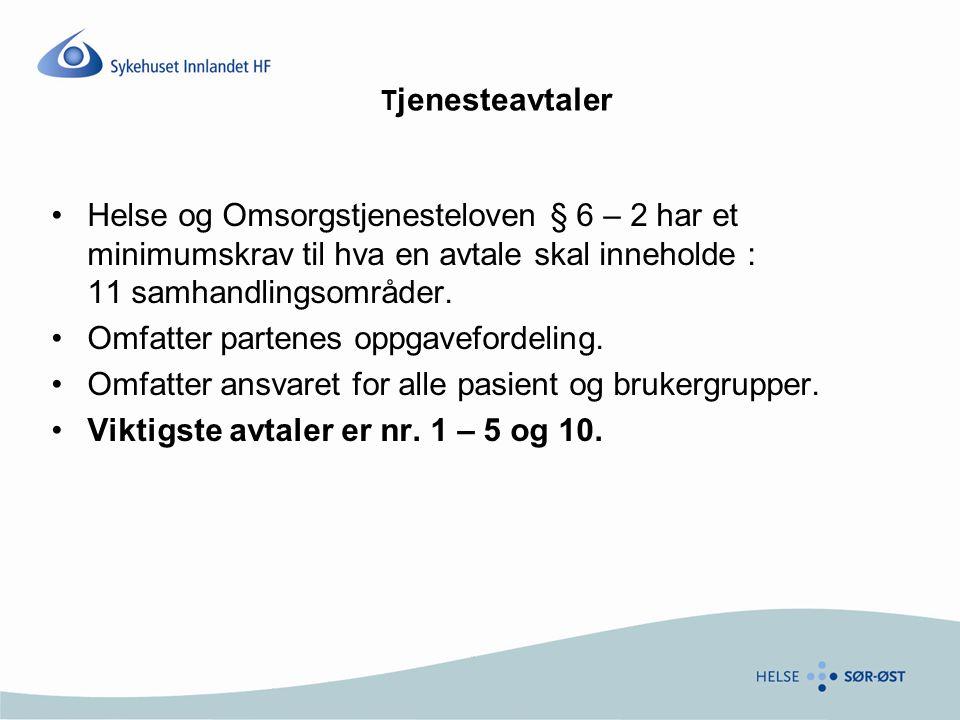 T jenesteavtaler Helse og Omsorgstjenesteloven § 6 – 2 har et minimumskrav til hva en avtale skal inneholde : 11 samhandlingsområder. Omfatter partene