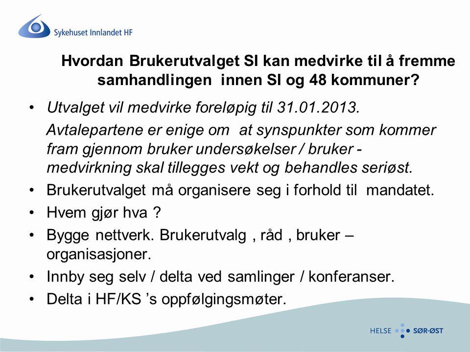 Utvalget vil medvirke foreløpig til 31.01.2013. Avtalepartene er enige om at synspunkter som kommer fram gjennom bruker undersøkelser / bruker - medvi