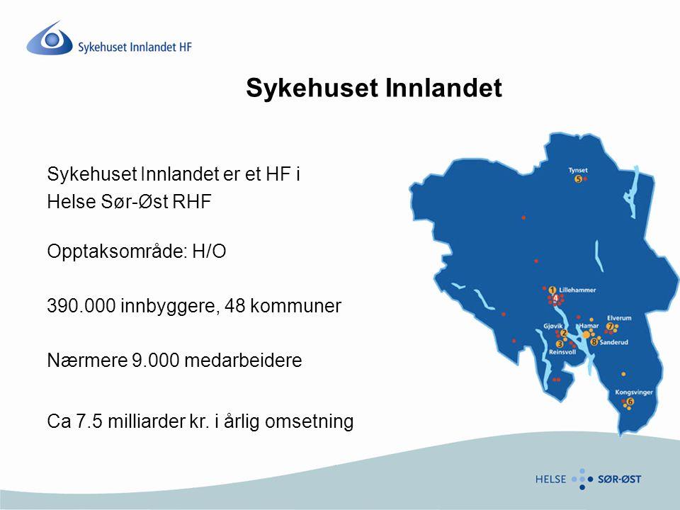 Sykehuset Innlandet Sykehuset Innlandet er et HF i Helse Sør-Øst RHF Opptaksområde: H/O 390.000 innbyggere, 48 kommuner Nærmere 9.000 medarbeidere Ca