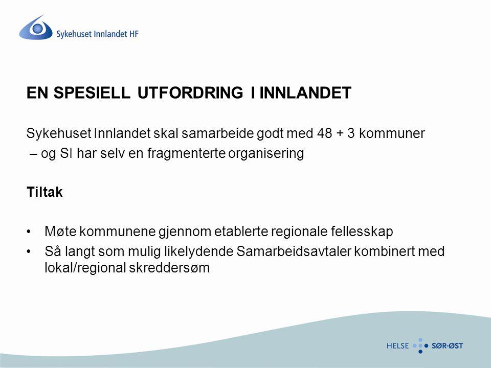 EN SPESIELL UTFORDRING I INNLANDET Sykehuset Innlandet skal samarbeide godt med 48 + 3 kommuner – og SI har selv en fragmenterte organisering Tiltak M