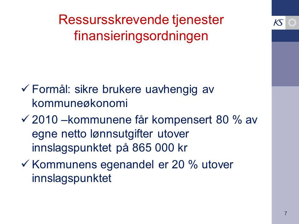 7 Ressursskrevende tjenester finansieringsordningen Formål: sikre brukere uavhengig av kommuneøkonomi 2010 –kommunene får kompensert 80 % av egne netto lønnsutgifter utover innslagspunktet på 865 000 kr Kommunens egenandel er 20 % utover innslagspunktet