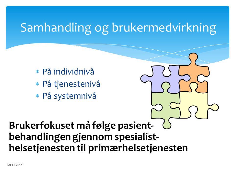 Samhandling og brukermedvirkning  På individnivå  På tjenestenivå  På systemnivå Brukerfokuset må følge pasient- behandlingen gjennom spesialist- h
