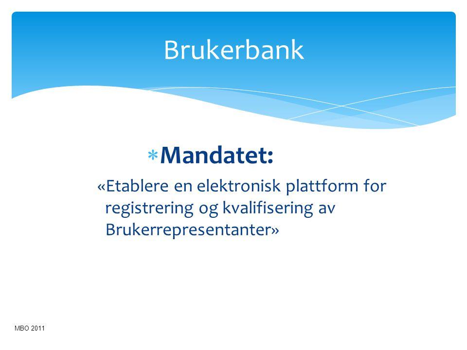  Mandatet: «Etablere en elektronisk plattform for registrering og kvalifisering av Brukerrepresentanter» Brukerbank MBO 2011