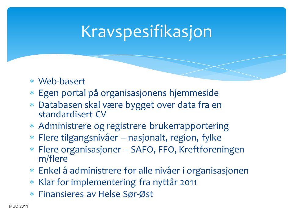 Kravspesifikasjon  Web-basert  Egen portal på organisasjonens hjemmeside  Databasen skal være bygget over data fra en standardisert CV  Administre