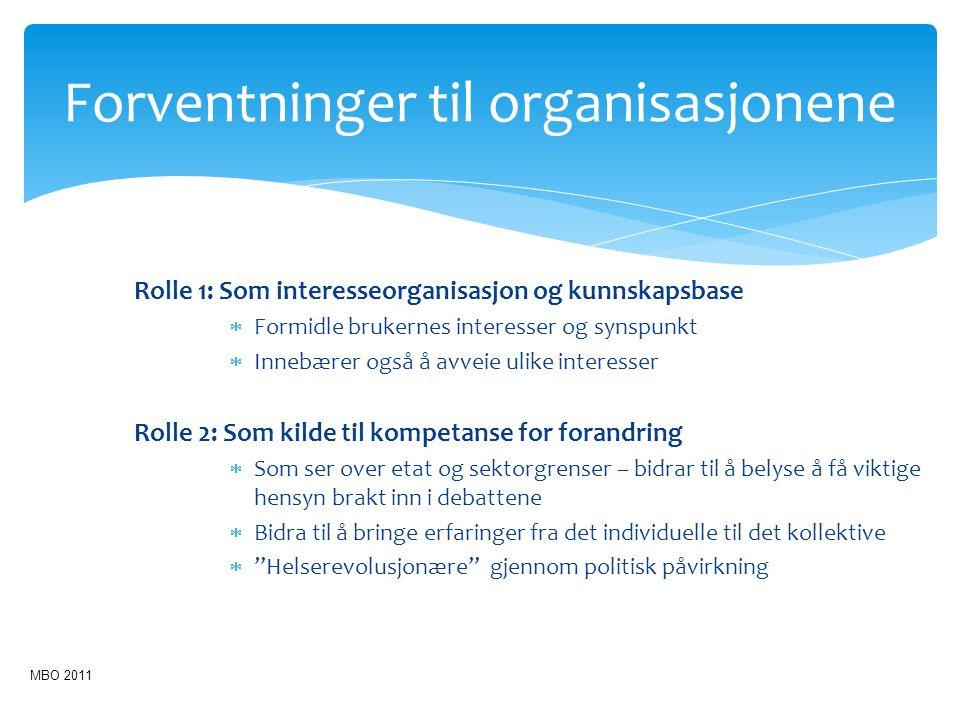 Rolle 1: Som interesseorganisasjon og kunnskapsbase  Formidle brukernes interesser og synspunkt  Innebærer også å avveie ulike interesser Rolle 2: S