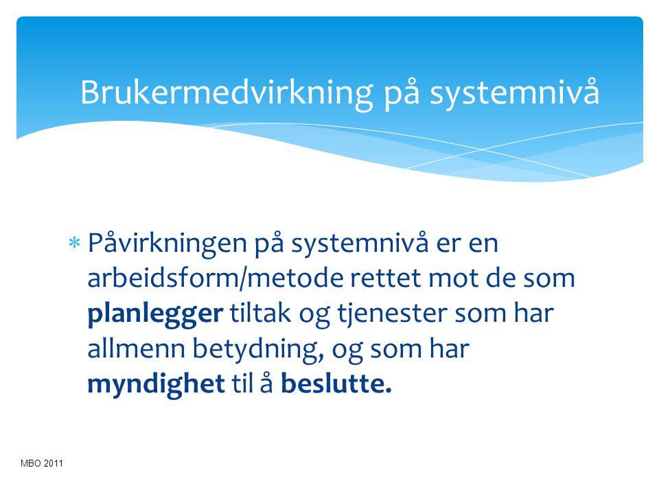 Brukermedvirkning på systemnivå  Påvirkningen på systemnivå er en arbeidsform/metode rettet mot de som planlegger tiltak og tjenester som har allmenn